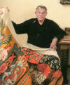 Richard Sipe with Last Judgment Tapestry he created - 2009